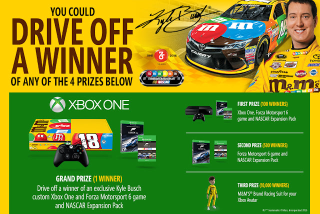 M&Ms wants you to enter daily for a chance to totally drive off a winner with a brand new Kyle Busch custom XBOX One and the Forza MS 6 Game with Nascar Expansion pack or other great prizes!