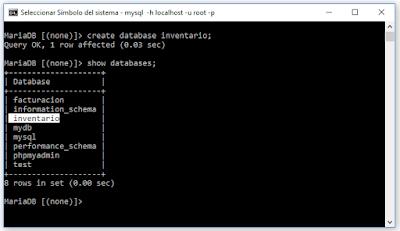 Crear una base de datos Mysql desde consola