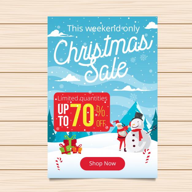 Merry Christmas Banner Sale Illustration Free Vector