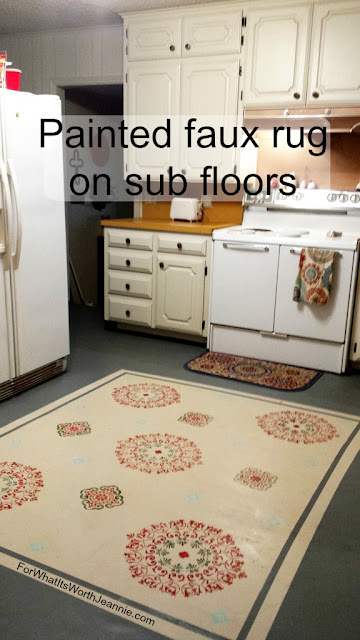 Painted faux rug on kitchen sub floors