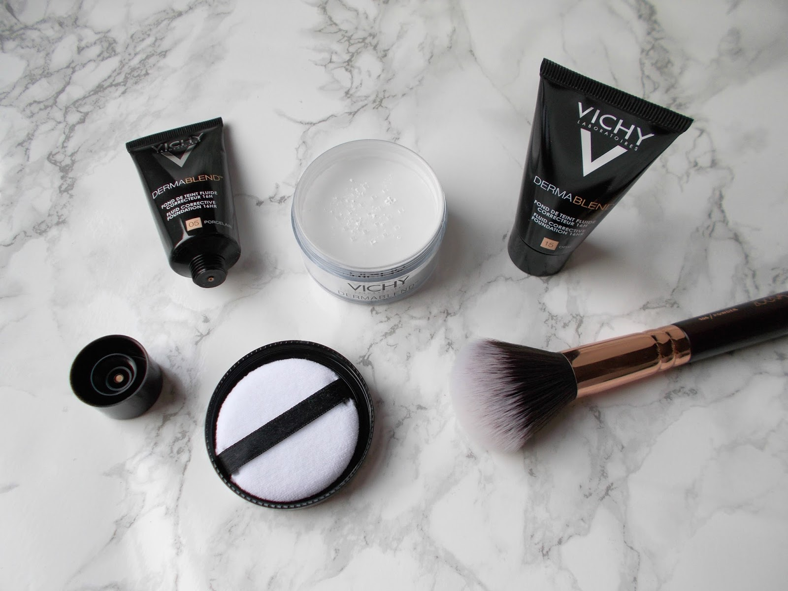 Vichy Dermablend 05 Porcelain 15 Opal foundation setting powder review