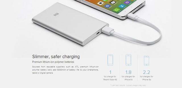 Xiaomi Mi Power Bank 5000mah charging a phone