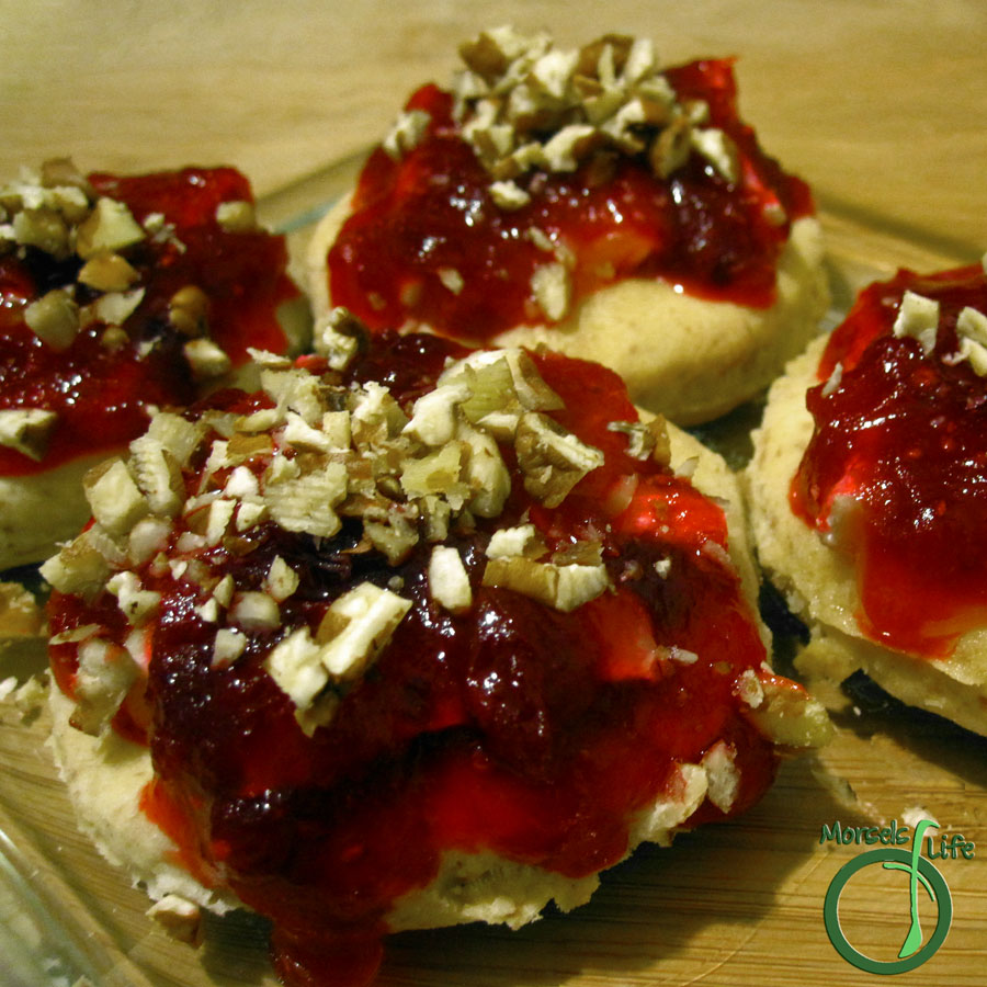 Morsels of Life - Cranberry Brie Biscuits - Creamy Brie cheese on top of a just baked biscuit enrobed in a tart, yet delightfully sweet cranberry chutney.