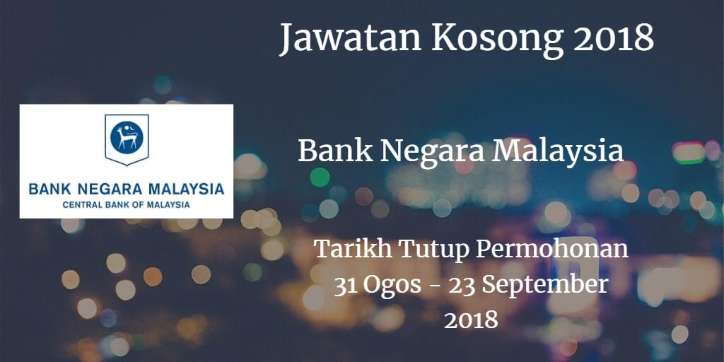 Jawatan Kosong BNM 31 Ogos - 23 September 2018