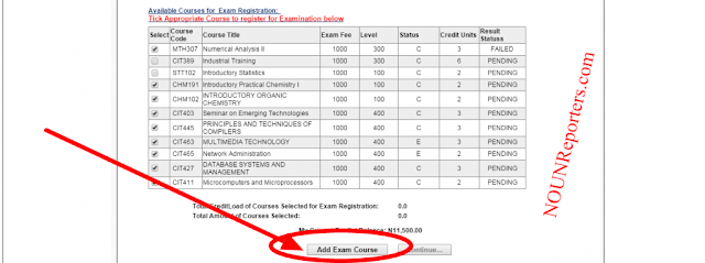 Tick on the Courses you want to Register for Examiniation and Click on Add Exam Courses