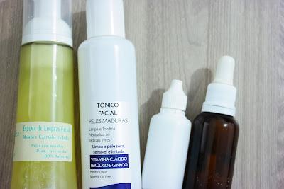 pele, rotina de cuidados, cremes, hidratação facial, clareador, ácido hialurônico, vitamina c, creme tri up, sabonete ácido glicólico, espuma de limpeza, tônico facial