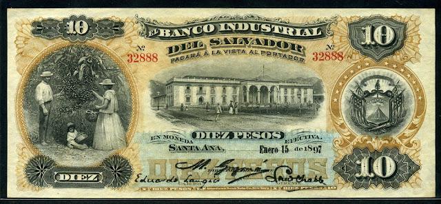 Currency of Salvador 10 Pesos banknote