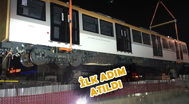 Metro hattının test vagonları raylara indirildi
