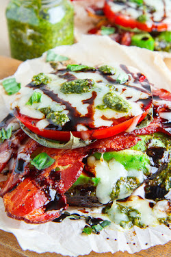 Caprese BLT Balsamic Roasted Portobello Mushrooms