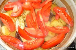 курица с помидорами и баклажаном