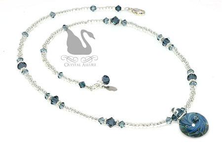 Blue Artisan Lampwork Crystal Necklace (N124-B)