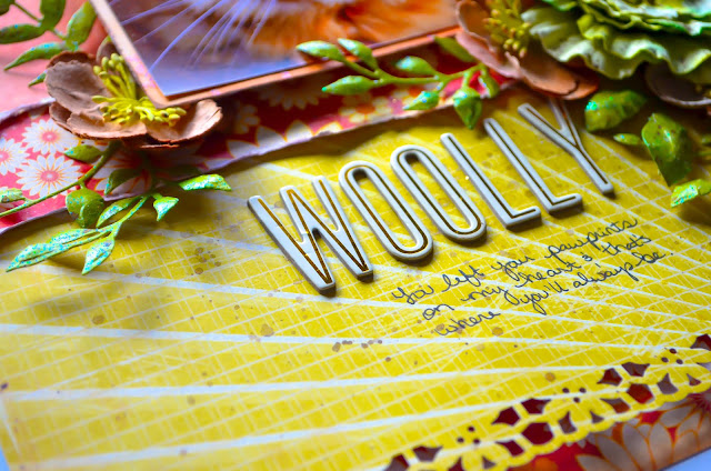 Cat layout: Yellow, orange, olive green, and brown scrapbooking page layout with Recollections Florals & Heidi Swapp wood veneer, with Tim Holtz Spring Greens die cuts & Crate Paper DIY Shop sunburst paper