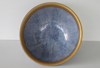 Blue Compote Bowl With Gold Rings Inside Bowl View