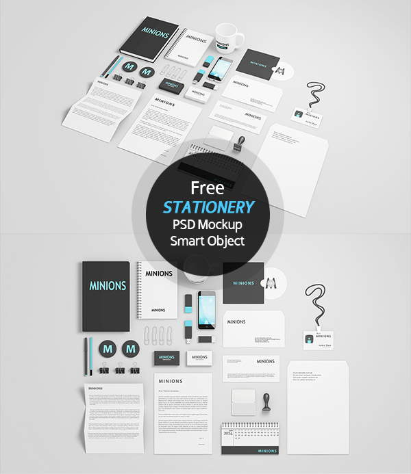 Free Stationery Mockup Smart Object Layered