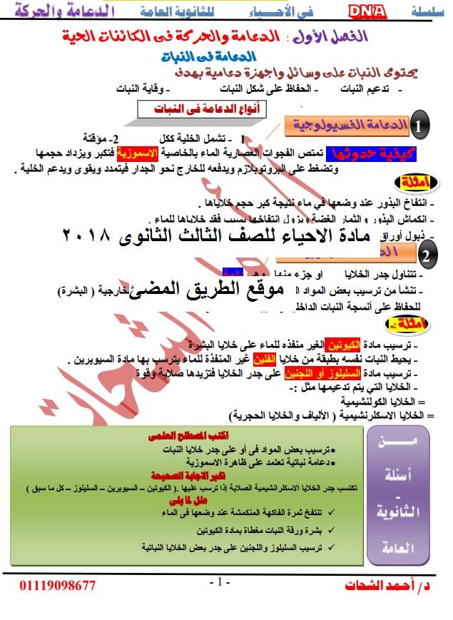 حمل مذكرة جديدة لمادة الاحياء الصف الثالث الثانوى 2019 .مذكرة الدكتور الشحات لاحياء ثانوية عامة