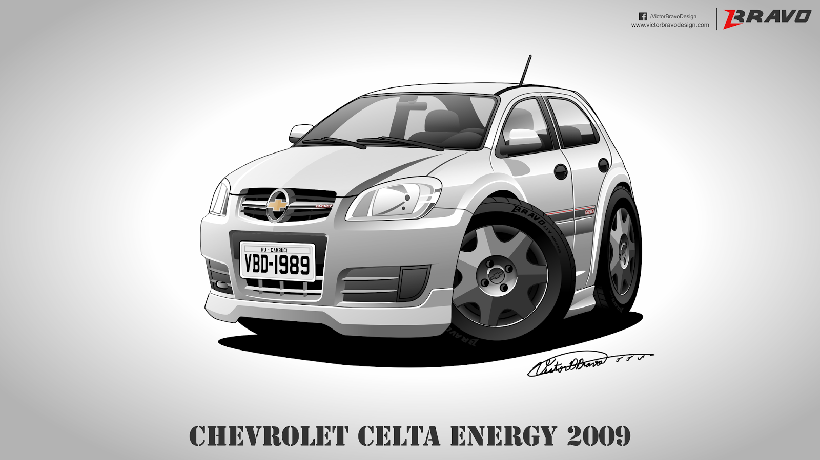 Imagem com o cartoon do Chevrolet Celta Energy 2009