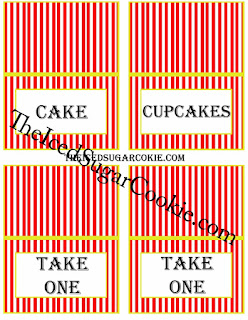 Circus Food Cards- Cake, Cupcakes, Take One, Take One