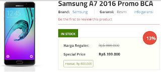 Samsung Galaxy A7 2016 Promo BCA Rp 5.199.000