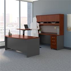 ergonomic sit to stand U shaped desk