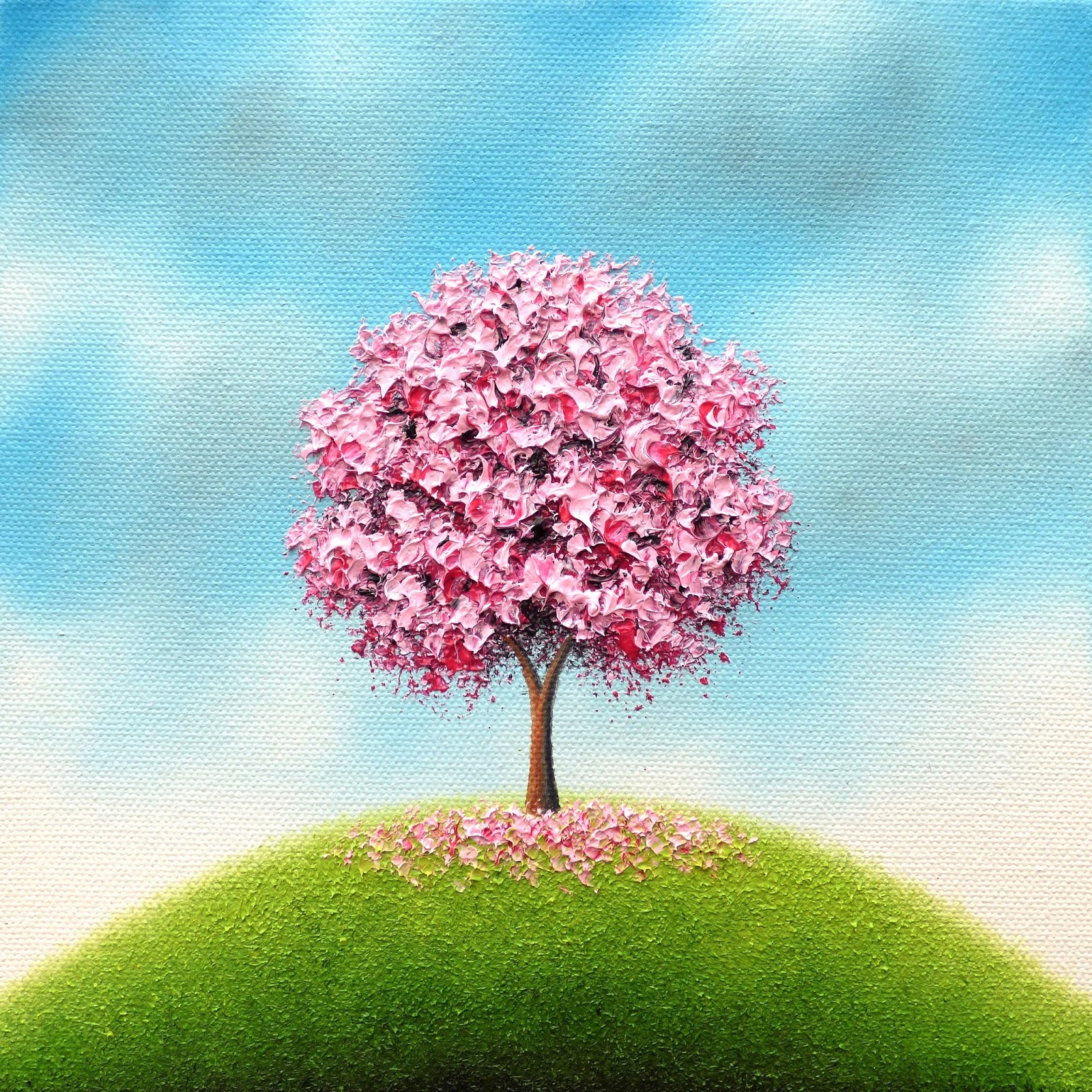 Pink Cherry Blossom Tree Painting Flowering Tree Oil Painting