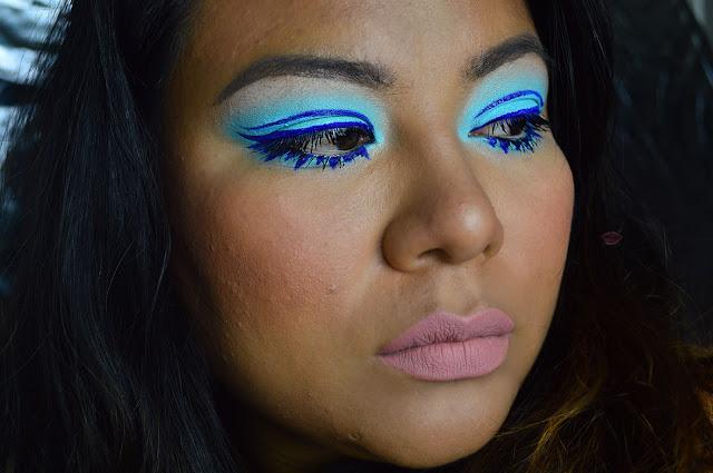 fraulein 38 88 palette, pop makeup, graphic eyeliner, Fake Eyelashes Twiggy Eye Makeup Tutorial
