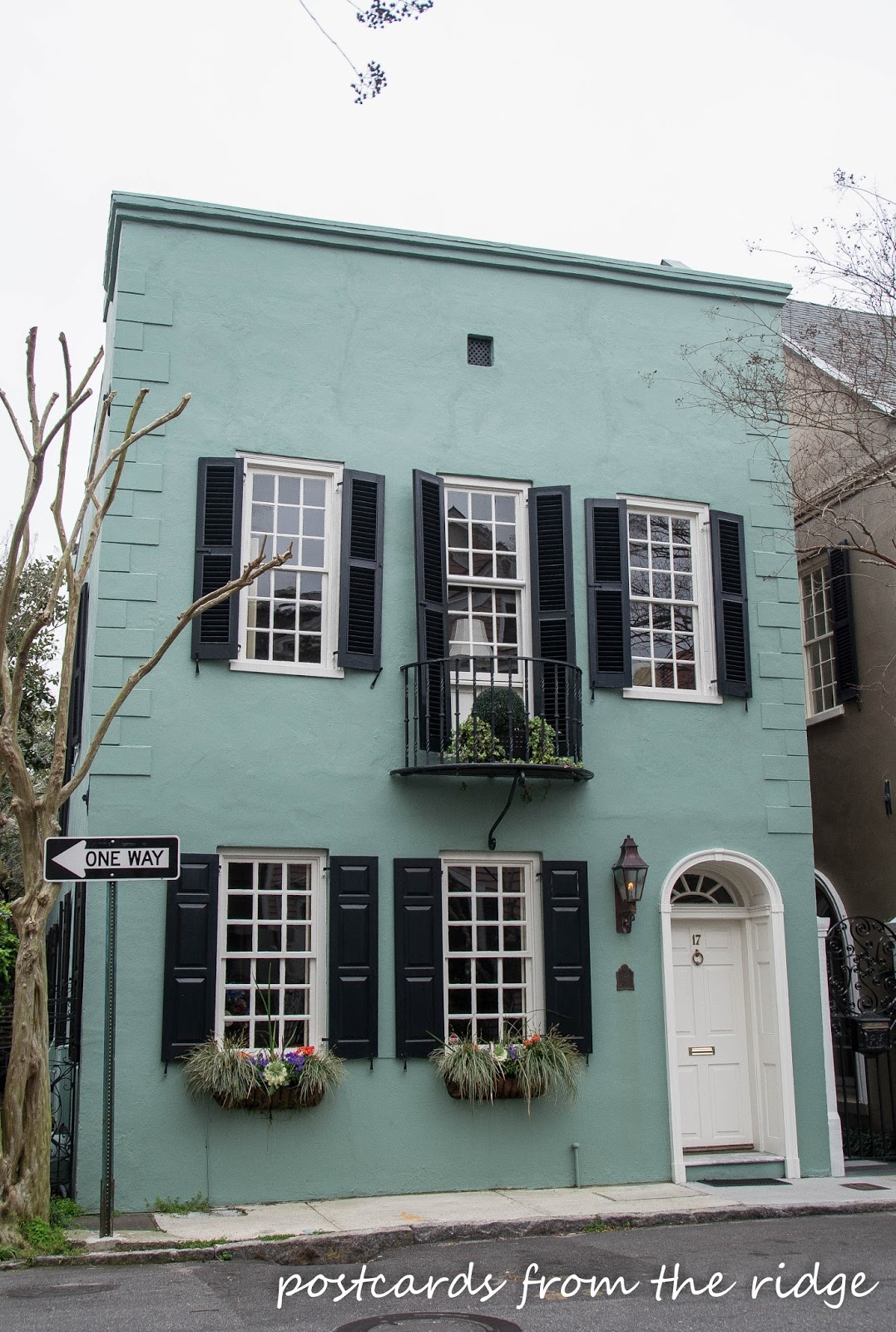 I love the colors on this old home in Charleston, SC. Postcards from the Ridge.
