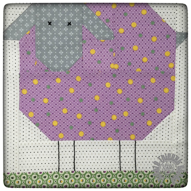 Woolly Sheep Block from the Farm Girl Vintage Book. Block made by Thistle Thicket Studio. www.thistlethicketstudio.com