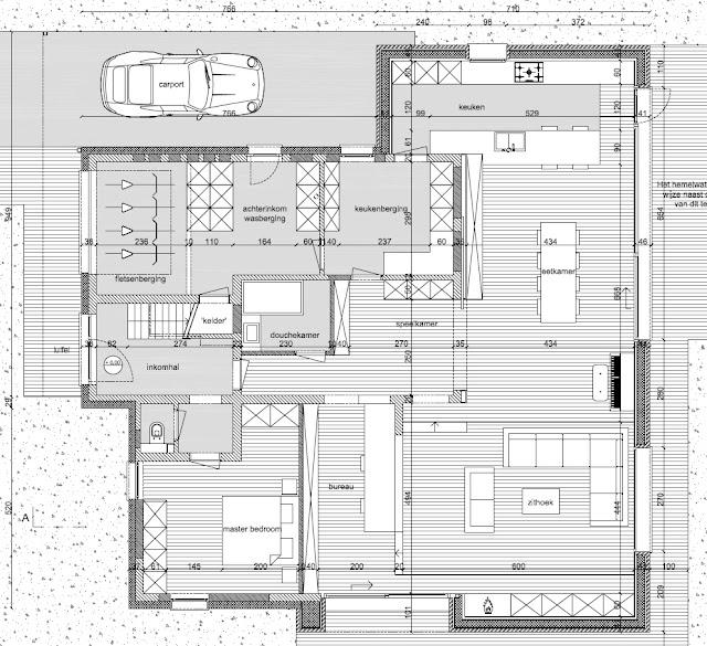 Plan nieuw uit te voeren verbouwing gelijkvloers woning jaren 60