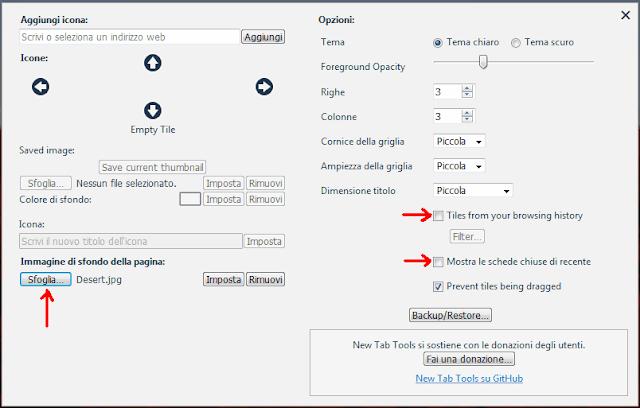 Finestra impostazioni estensione Firefox New Tab Tools