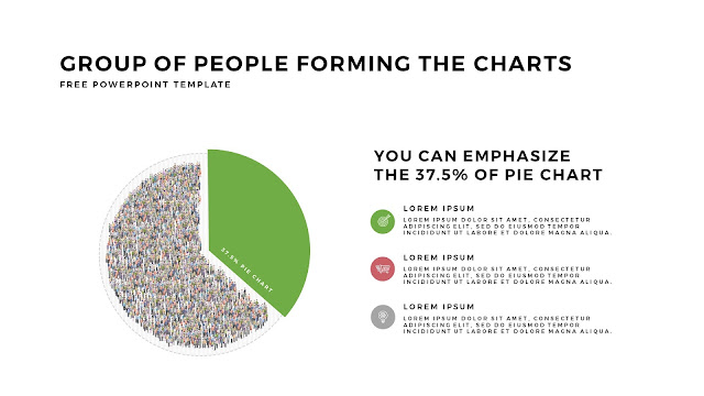 Free PowerPoint Template with Group of People Forming The Pie Chart for Emphasize 37.5 % Business Area with White Backgrounbd