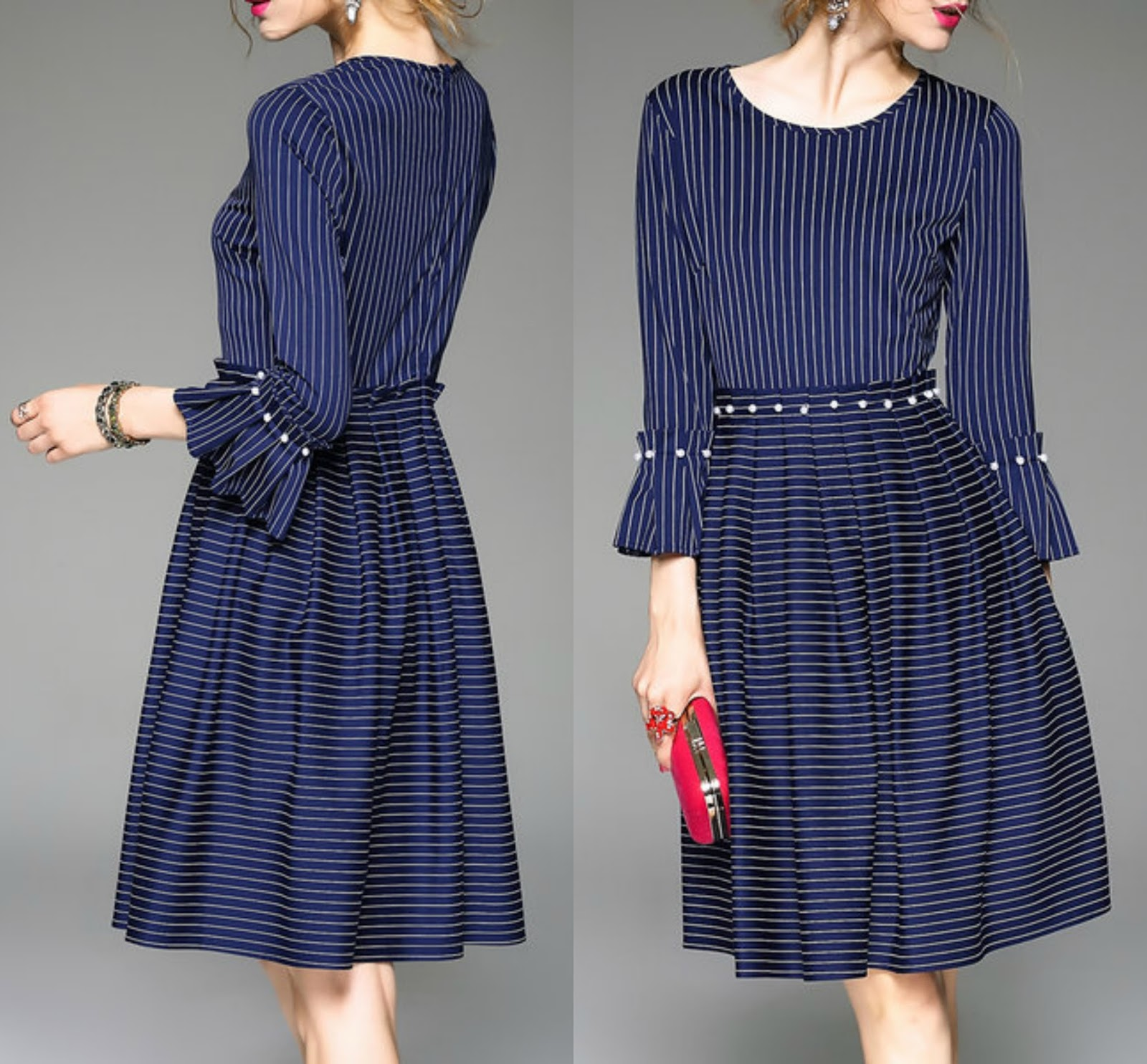 Royal Blue Frill Sleeve Beaded Crew Neck A-line Midi Dress  Add to Favorites