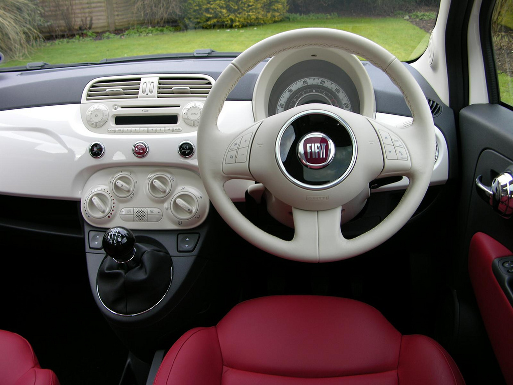 girly interior of a fiat 500 car