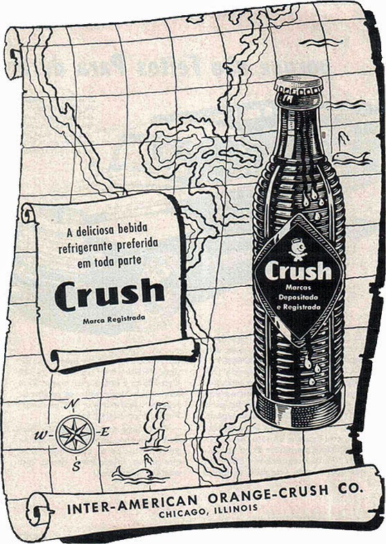 Propaganda antiga do Refrigerante Crush no começo dos anos 50 (Mapa do Tesouro).