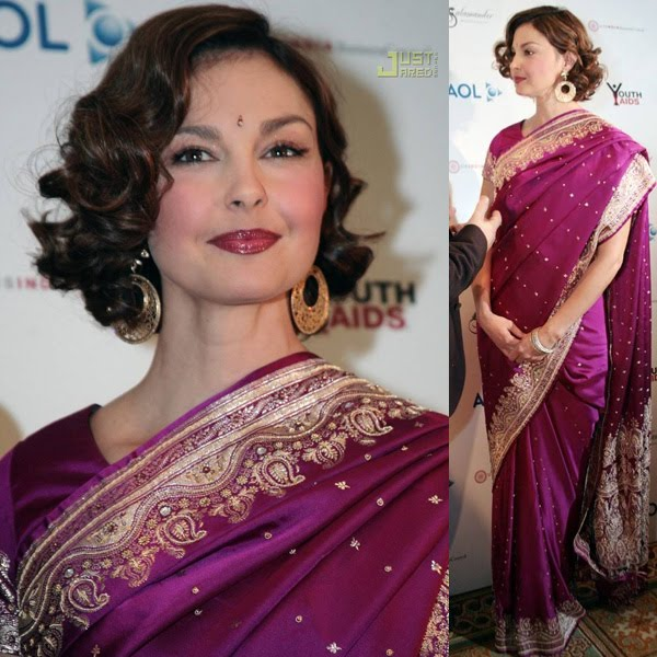 Ashley Judd in saree attending an event.