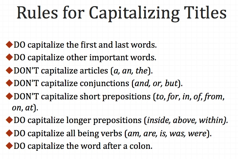 Write titles correctly by knowing which words to capitalize