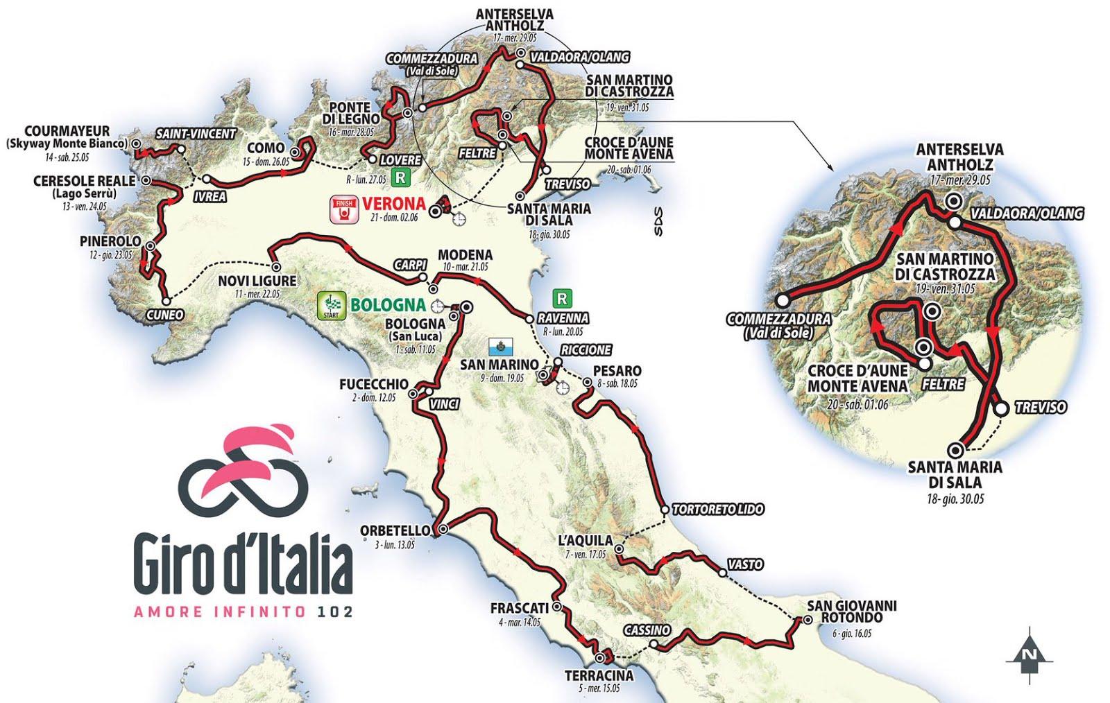 Giro d'Italia 2019 Streaming e Diretta TV, dove vedere la Corsa Rosa, lista partecipanti.