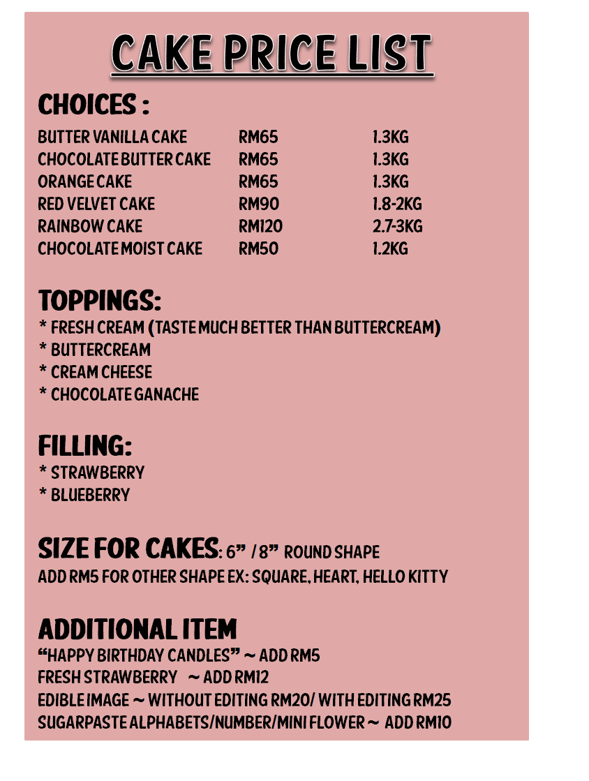 Cake Price List Nicely Feeling More Than Just Party N