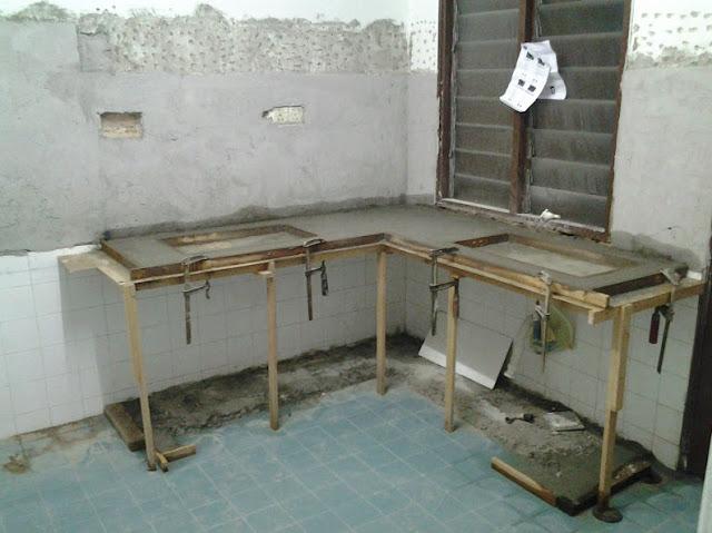Cara Membuat Meja Dapur Cor