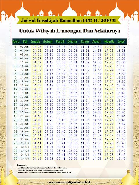 Jadwal Imsakiyah Ramadhan 1437 H / 2016 M Untuk Kota Lamongan