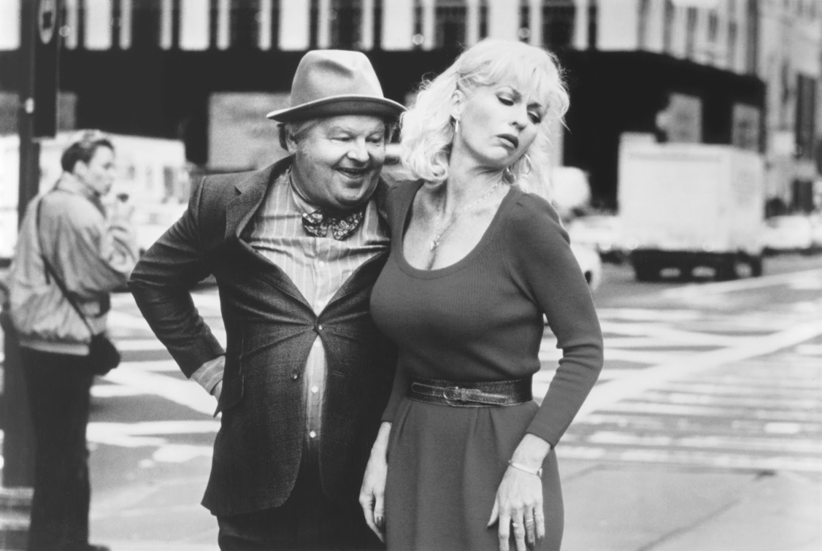 A black and white picture of Benny Hill and a woman
