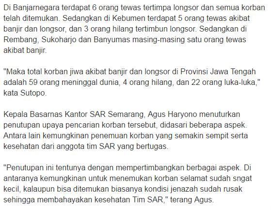 Operasi Tim SAR Pencarian Korban Longsor di Purworejo Dihentikan, Keluarga Ikhlaskan 3 Korban yang Hilang - Commando