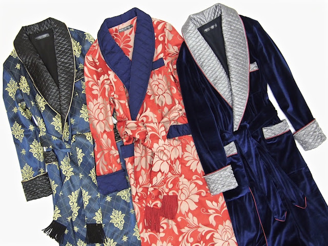 Mens paisley silk robe velvet dressing gown quilted smoking jacket