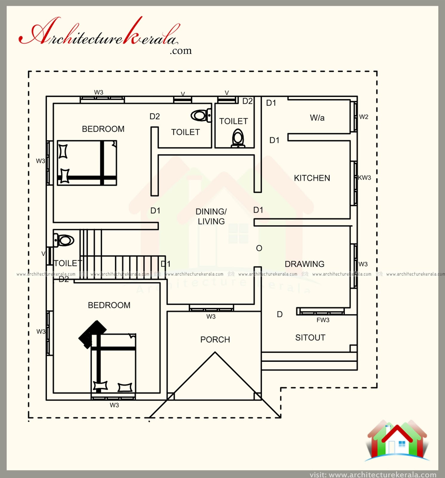 1200 square feet kerala house plan with beautiful for Kerala home plan and elevation 1000 sq ft