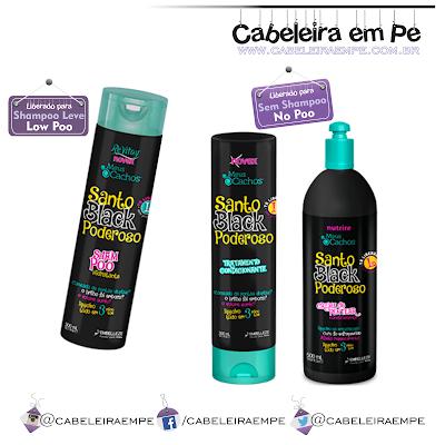 Linha de Cuidados Diários Santo Black Poderoso Novex Embelleze - Shampoo (Low Poo, Condicionador (No Poo) e Creme para Pentear (No Poo)