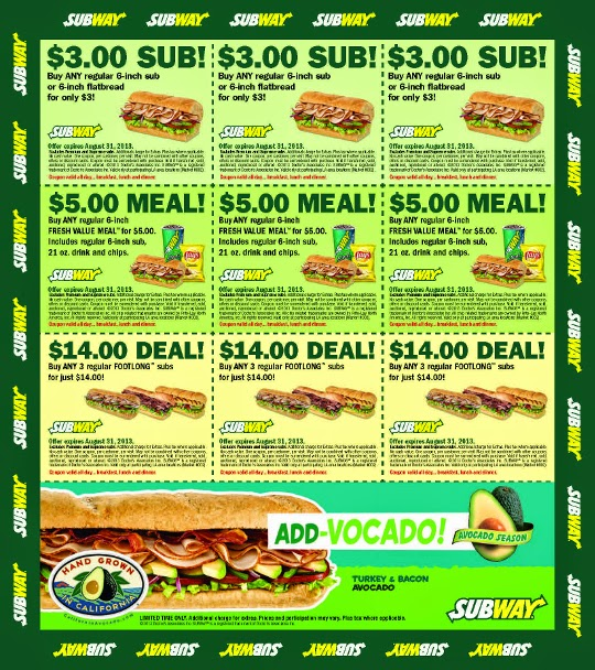 graphic relating to Printable Subway Coupons called Discount codes subway united states : Banners discount coupons