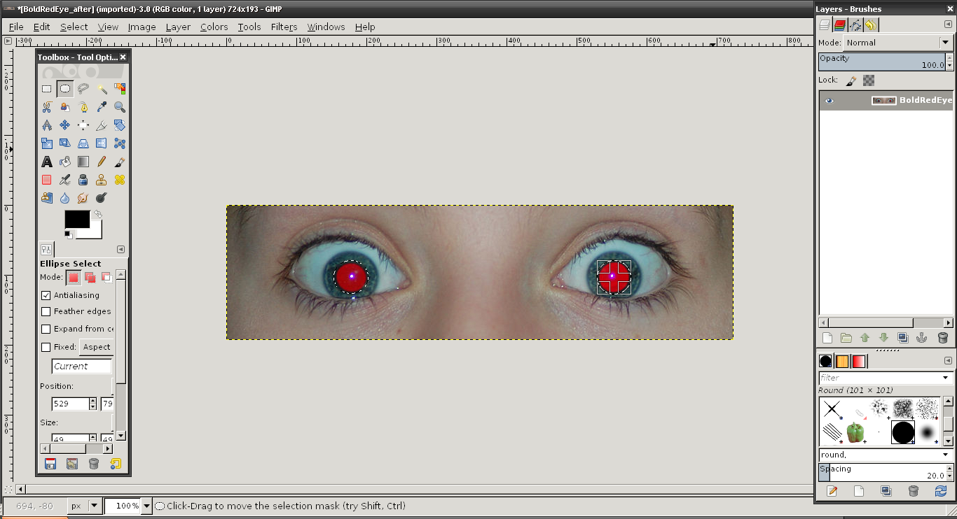 2 Gimp Tutorial Utilized Graphics 1 Gimp Tutorial Red Eye Removal