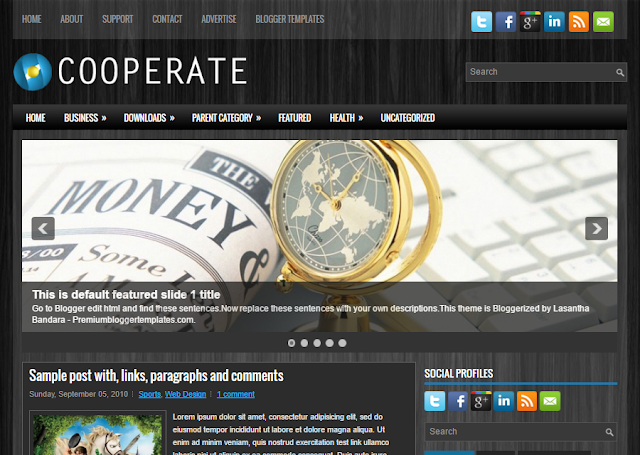 Cooperate is a gratuitous blogger template alongside features such equally  Free Download Cooperate Blogger Template