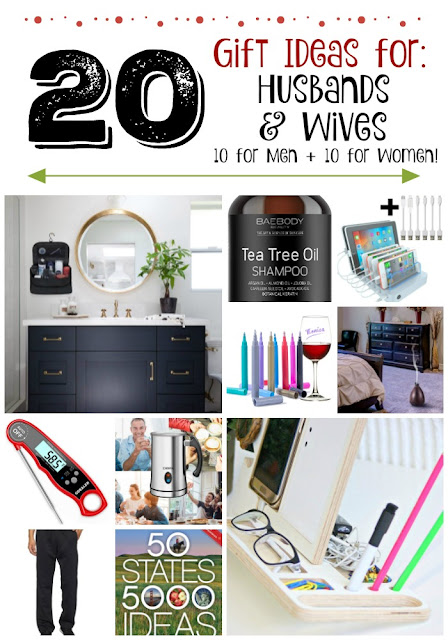20 Holiday Gift Ideas for Husbands & Wives...10 for him and 10 for her!  But many are interchangeable - so this is a list you want to check out to do your Christmas shopping! (sweetandsavoryfood.com)