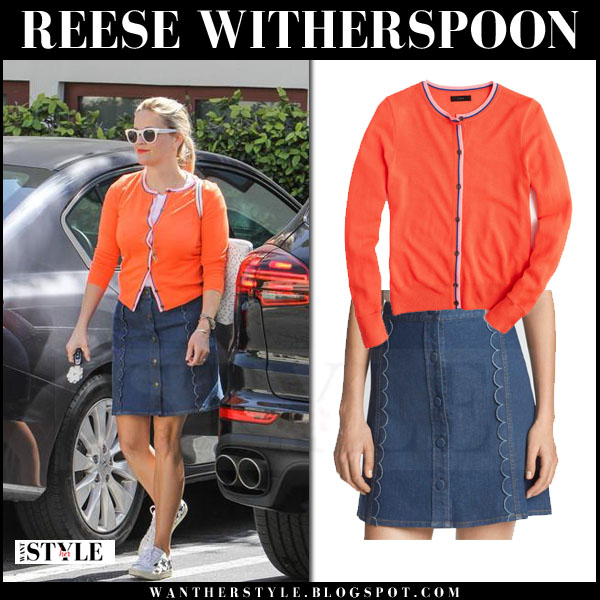 Reese Witherspoon in orange j crew cardigan and blue denim mini skirt draper james what she wore streetstyle