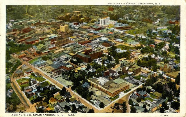 aerial view of Spartanburg, SC